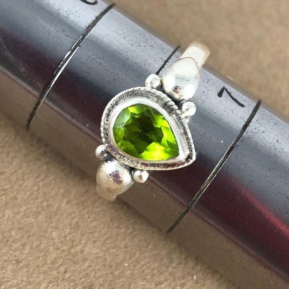 Gem Emporium Jewelry - 1/2 Ct.Pear Cut Peridot 925 Silver Birthstone Ring